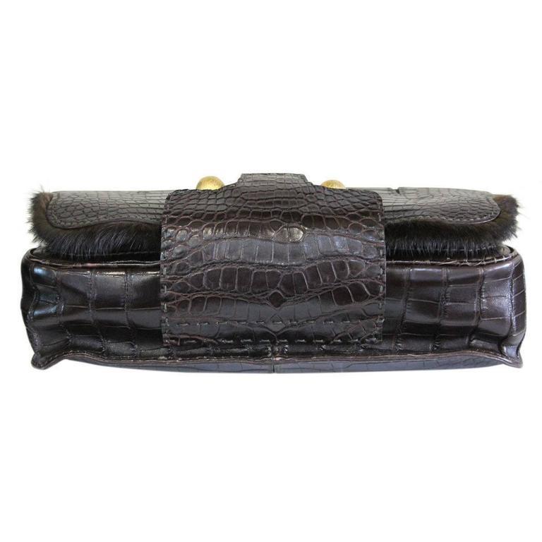 Fendi Rare Secret Code 8BN199 Brown Alligator & Mink Satchel Handbag Purse 4