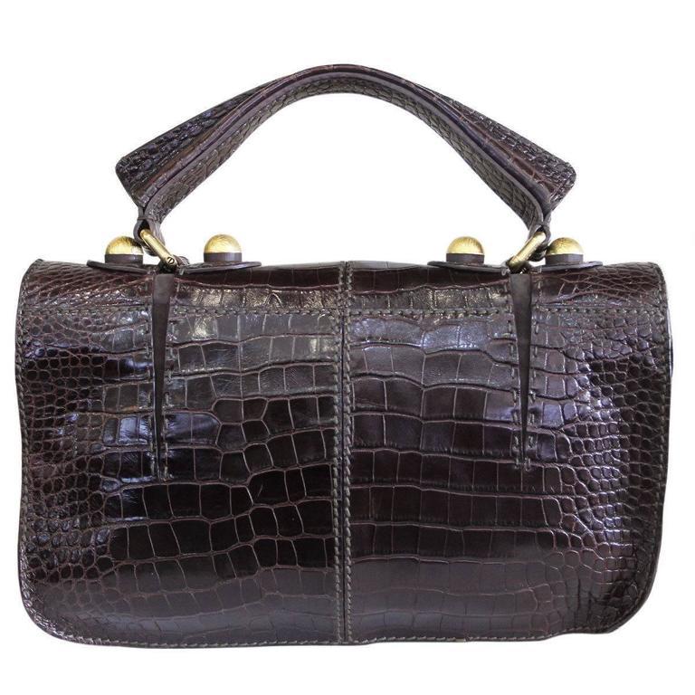 Fendi Rare Secret Code 8BN199 Brown Alligator & Mink Satchel Handbag Purse 2