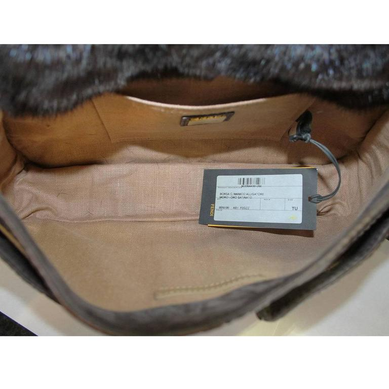 Fendi Rare Secret Code 8BN199 Brown Alligator & Mink Satchel Handbag Purse 8