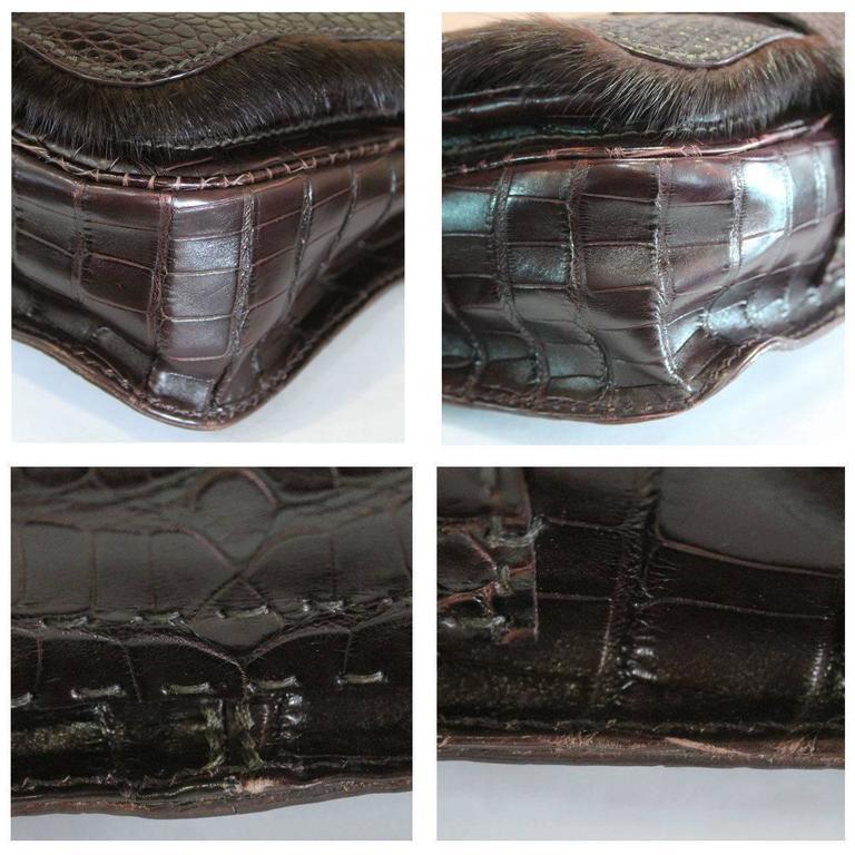 Fendi Rare Secret Code 8BN199 Brown Alligator & Mink Satchel Handbag Purse 6
