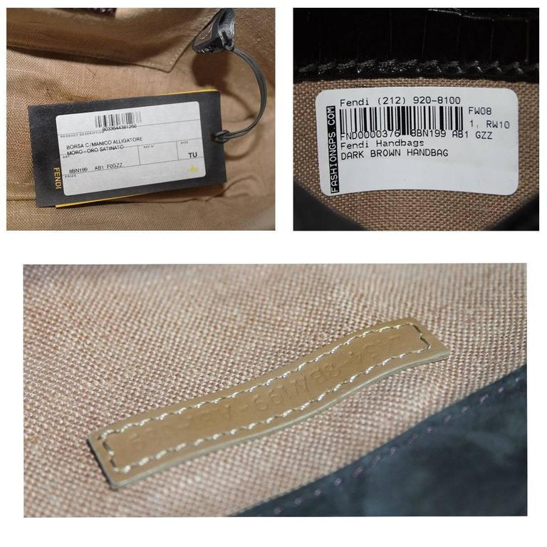 Fendi Rare Secret Code 8BN199 Brown Alligator & Mink Satchel Handbag Purse 9