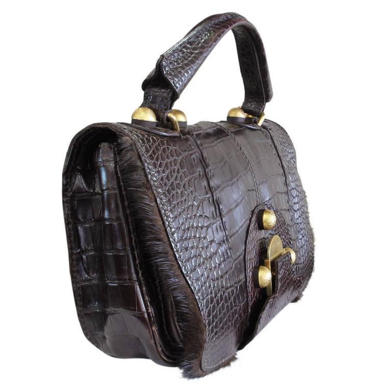 Fendi Rare Secret Code 8BN199 Brown Alligator & Mink Satchel Handbag Purse 3