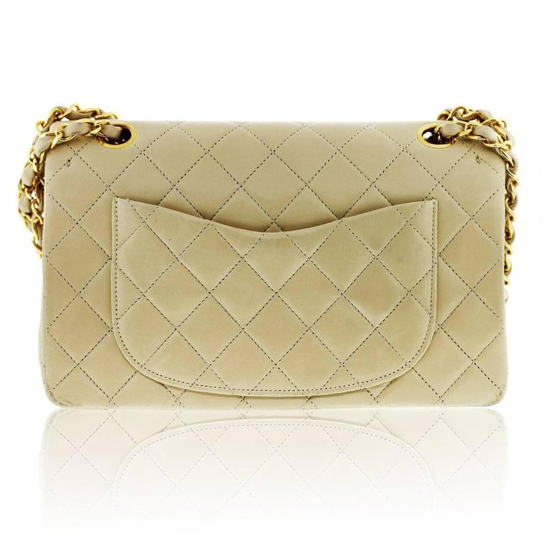 CHANEL Beige Double Flap Lambskin GHW Shoulder Bag 3
