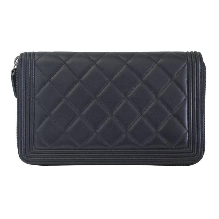 Chanel Black Lambskin Large Zip Around Boy Wallet No. 16 2