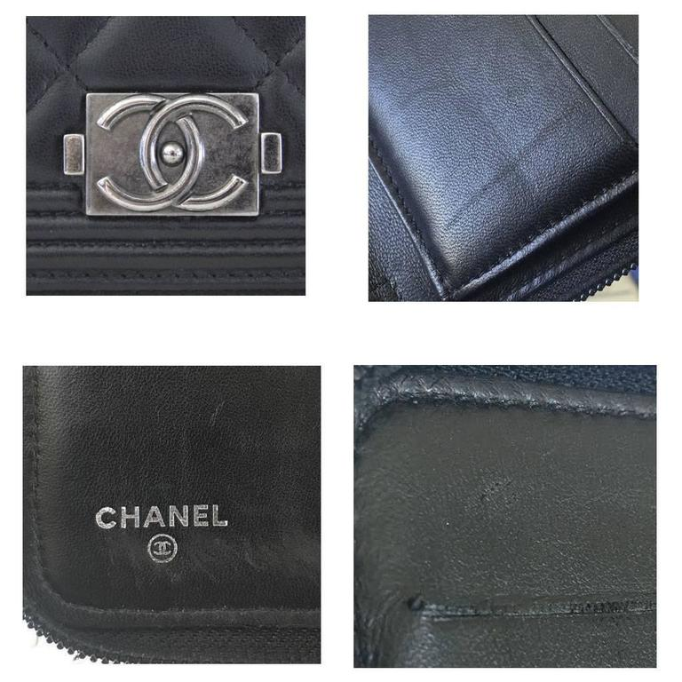 Chanel Black Lambskin Large Zip Around Boy Wallet No. 16 7