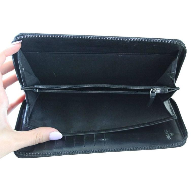 Chanel Black Lambskin Large Zip Around Boy Wallet No. 16 5