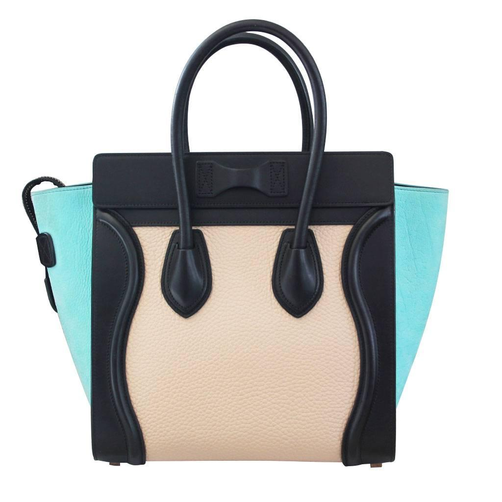 Celine Tricolor Micro Luggage Tote Pebbled Leather and Suede Handbag at  1stdibs b6868d59ca992
