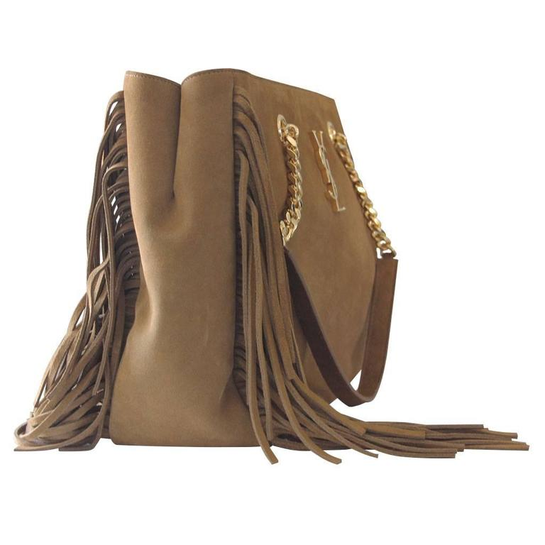 Yves Saint Laurent YSL Saddle Suede Fringe Tassel Bag with Dust Bag 3