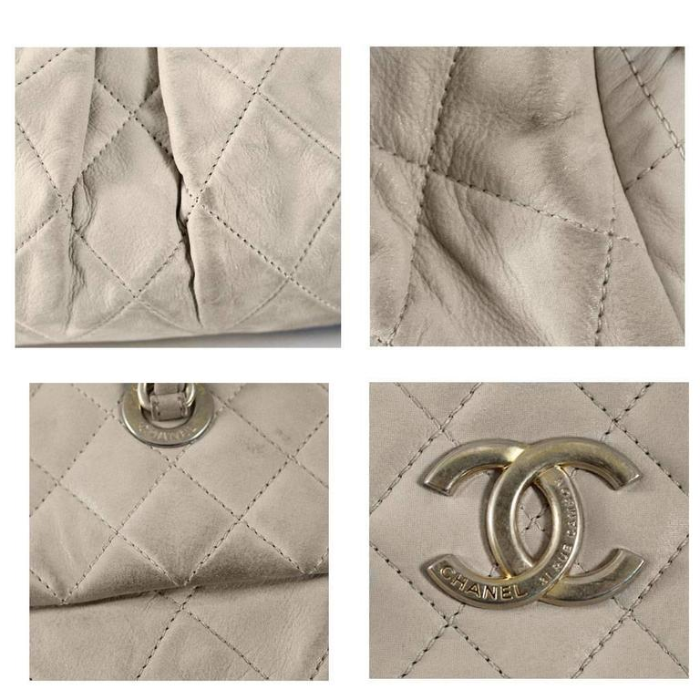 Chanel Soft Lambskin Beige Shoulder Bag Tote with Pleats No. 15 in Box For Sale 1