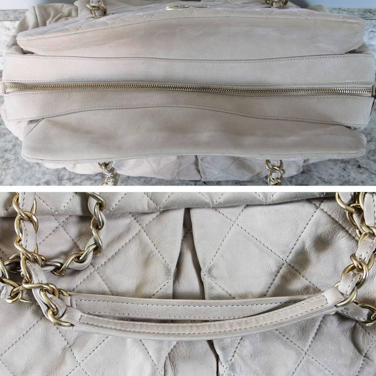 Chanel Soft Lambskin Beige Shoulder Bag Tote with Pleats No. 15 in Box For Sale 3