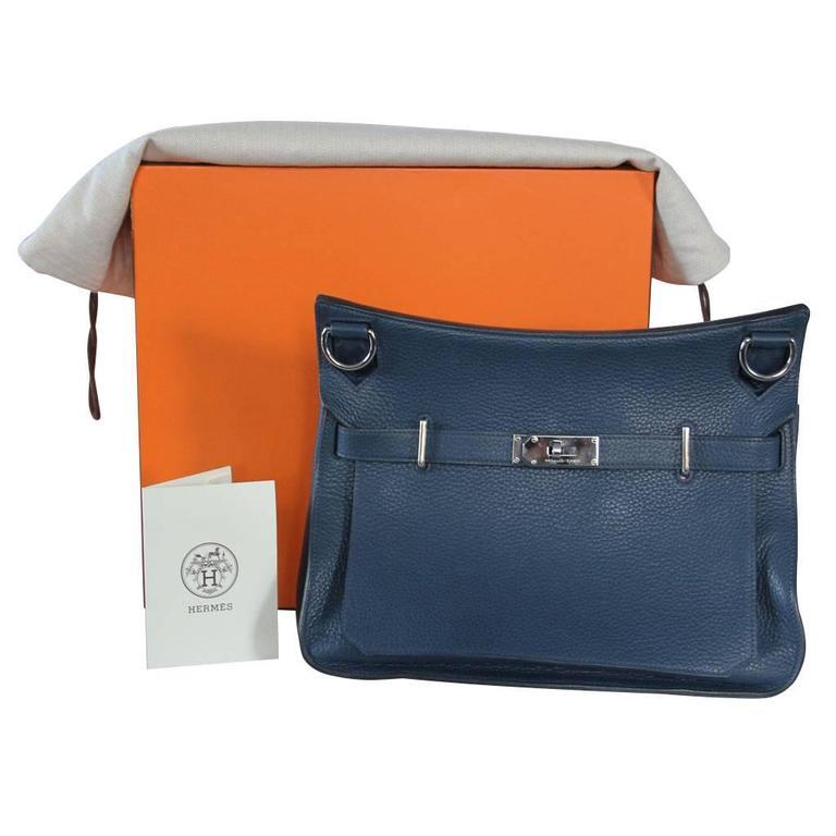 Hermes Jypsiere 34 Bleu de Malte Handbag in Box with Receipt 10