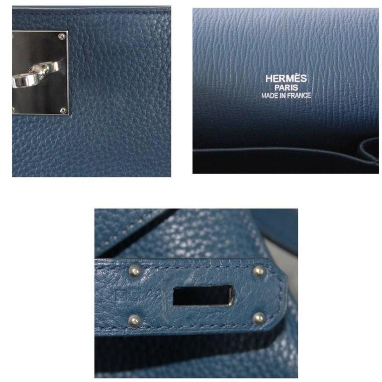 Hermes Jypsiere 34 Bleu de Malte Handbag in Box with Receipt 9