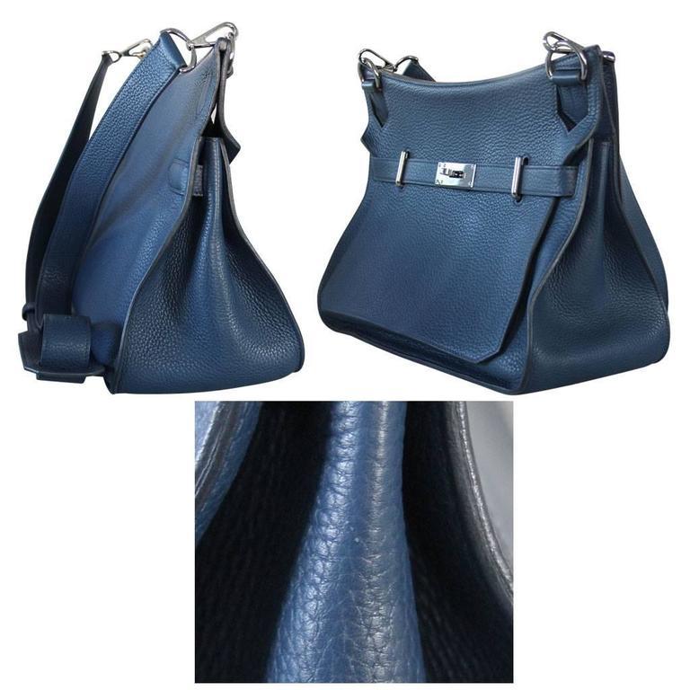 Women's or Men's Hermes Jypsiere 34 Bleu de Malte Handbag in Box with Receipt For Sale