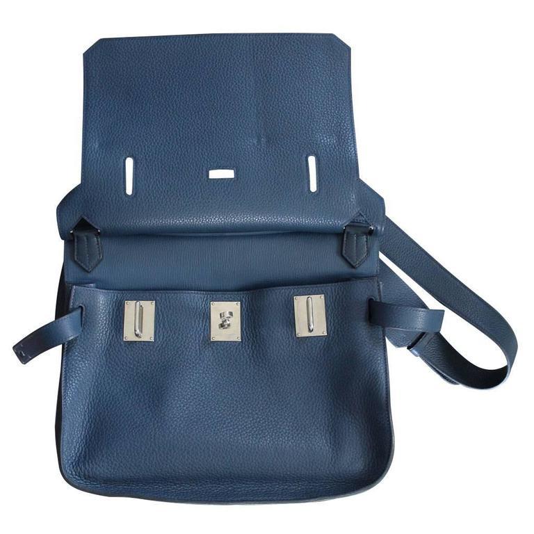 Blue Hermes Jypsiere 34 Bleu de Malte Handbag in Box with Receipt For Sale