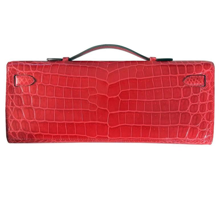 Hermes Kelly Cut Crocodile Shiny Porosus Bouganvillea Clutch Bag in Box 2