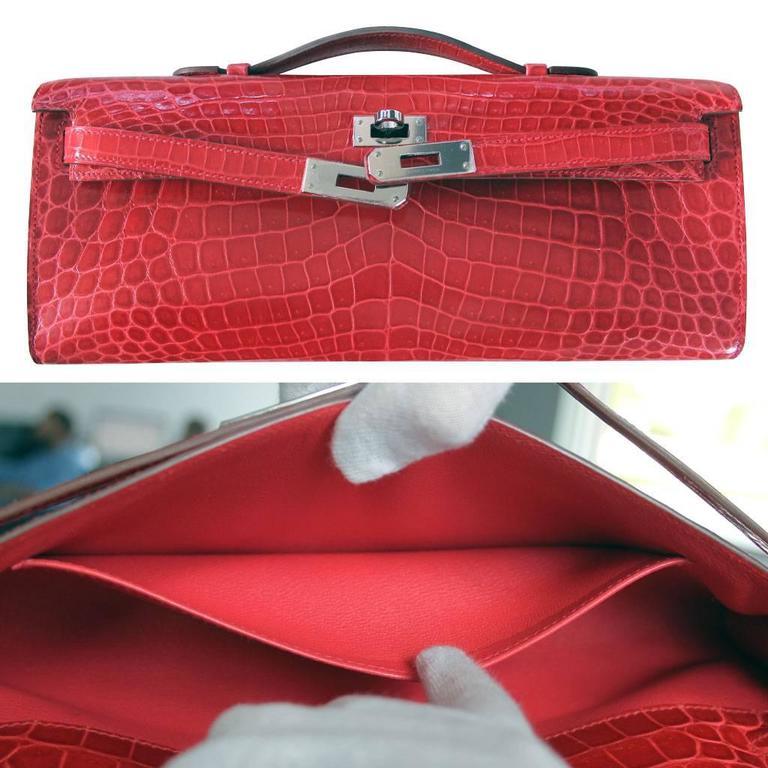 ea919fbe2f Hermes Kelly Cut Crocodile Shiny Porosus Bouganvillea Clutch Bag in Box For  Sale 4