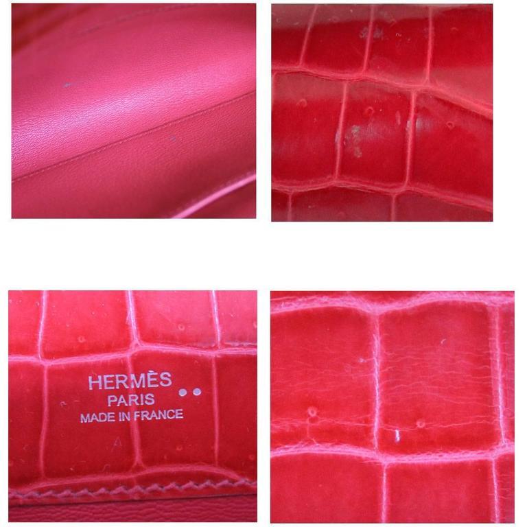 64b142f616 Hermes Kelly Cut Crocodile Shiny Porosus Bouganvillea Clutch Bag in Box For  Sale 1