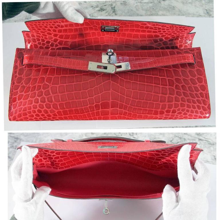c50a15ad49 Hermes Kelly Cut Crocodile Shiny Porosus Bouganvillea Clutch Bag in Box For Sale  3