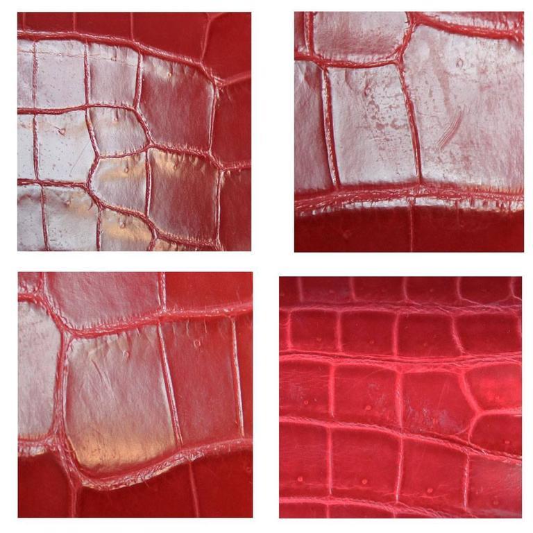 3d81165b11 Hermes Kelly Cut Crocodile Shiny Porosus Bouganvillea Clutch Bag in Box For  Sale 2