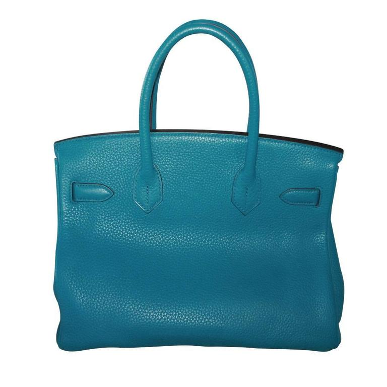 "Hermes Birkin 30 Togo Blue Izmir Handbag Purse in Box ""O"" Stamp 2"