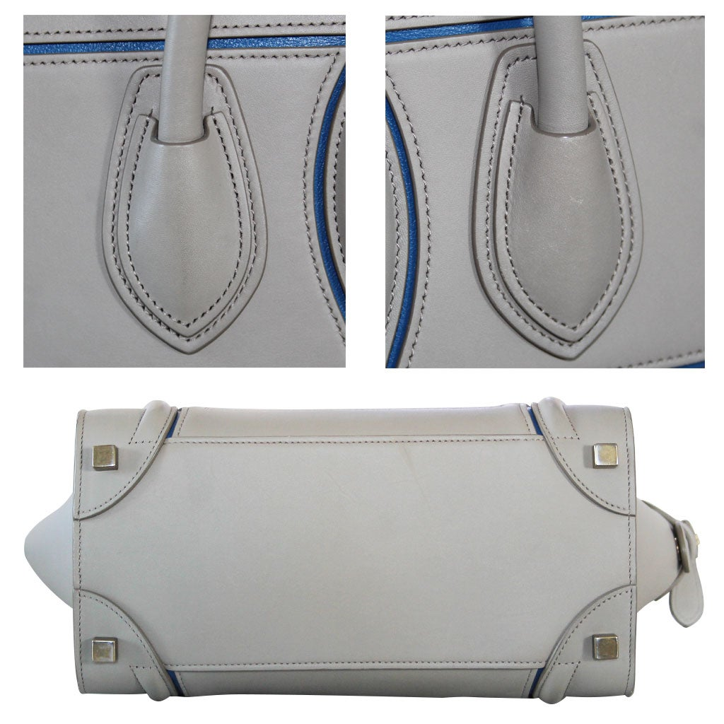 c9742dc1f1 Celine Micro Luggage Light Taupe Calfskin Tote Handbag with Blue Piping For  Sale at 1stdibs