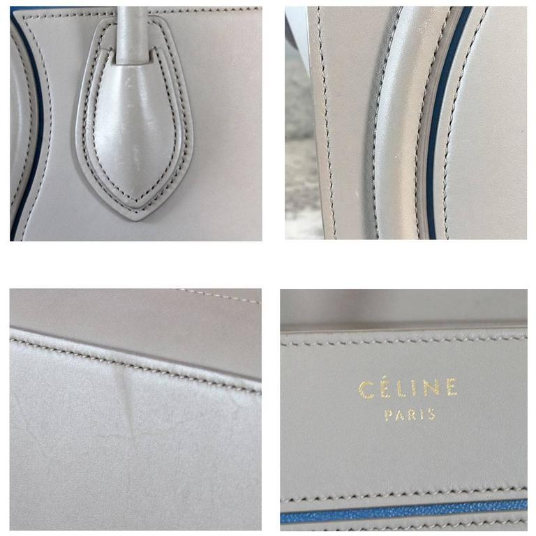 Celine Micro Luggage Light Taupe Calfskin Tote Handbag with Blue Piping For Sale 1