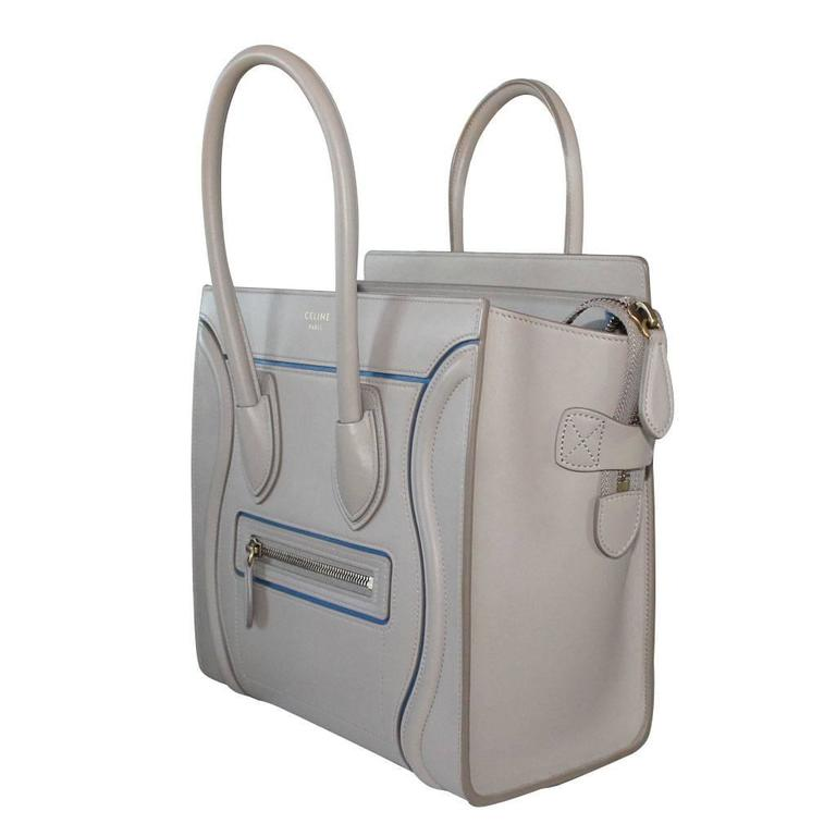 Celine Micro Luggage Light Taupe Calfskin Tote Handbag with Blue Piping 2