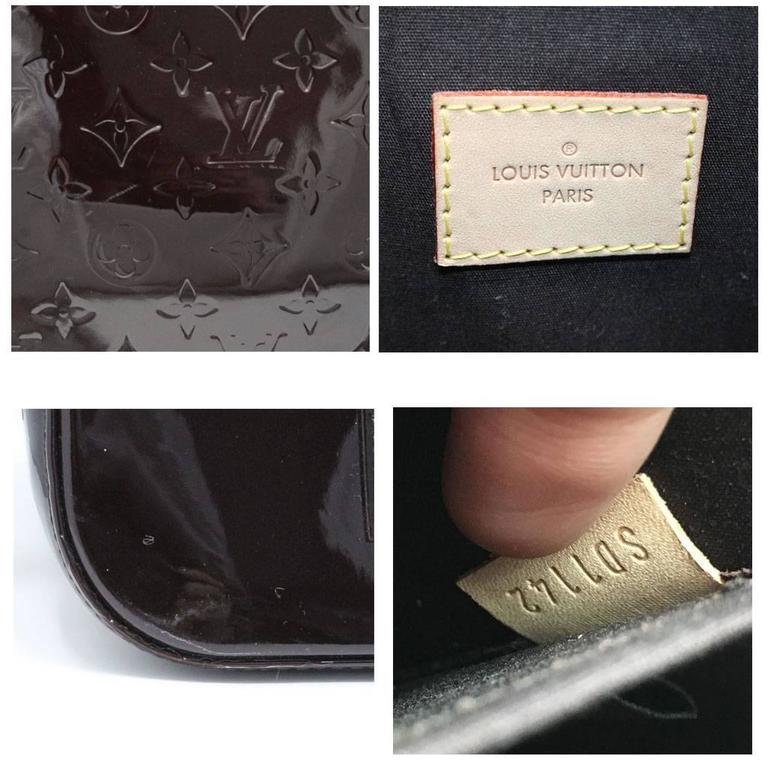 Louis Vuitton Alma GM Vernis Amarante Handbag with Receipt and Dust Bag For Sale 5