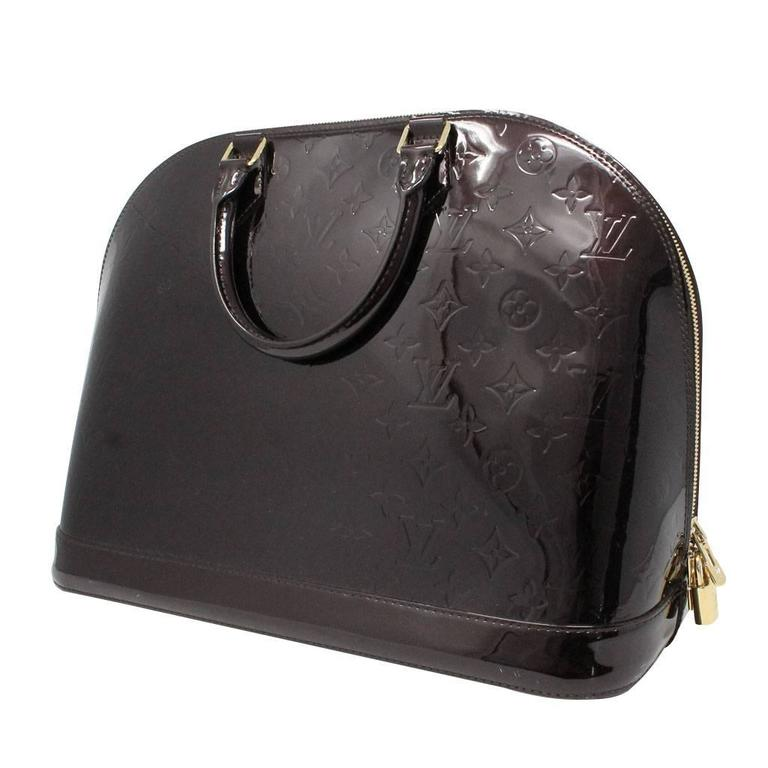 Black Louis Vuitton Alma GM Vernis Amarante Handbag with Receipt and Dust Bag For Sale