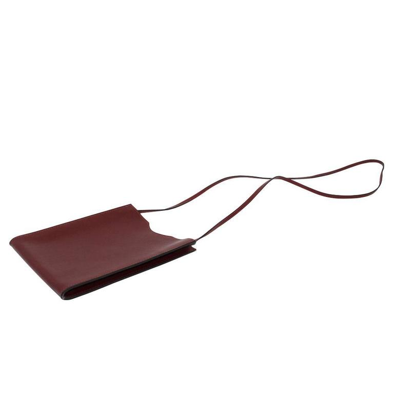 Brown Hermes Sling Crossbody Carmine Red Colored Messenger Bag For Sale
