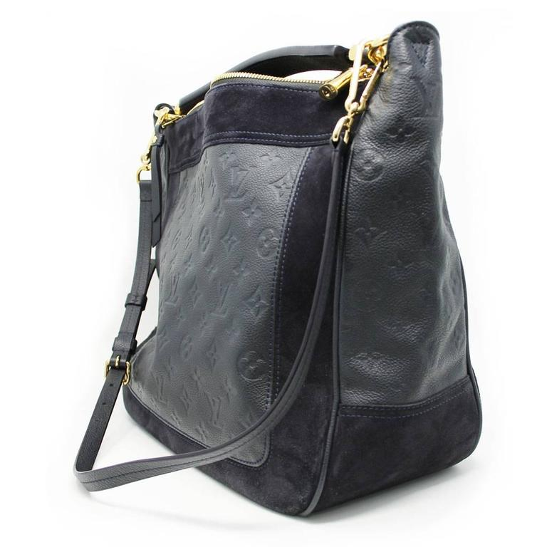 33faa126425f Black Louis Vuitton Audacieuse Navy Blue Suede Empreinte Leather Handbag  For Sale