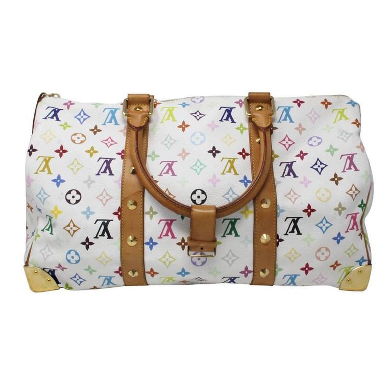 c24579e78d8e Louis Vuitton Murakami Keepall 45 White Handbag Purse Travel Bag at ...