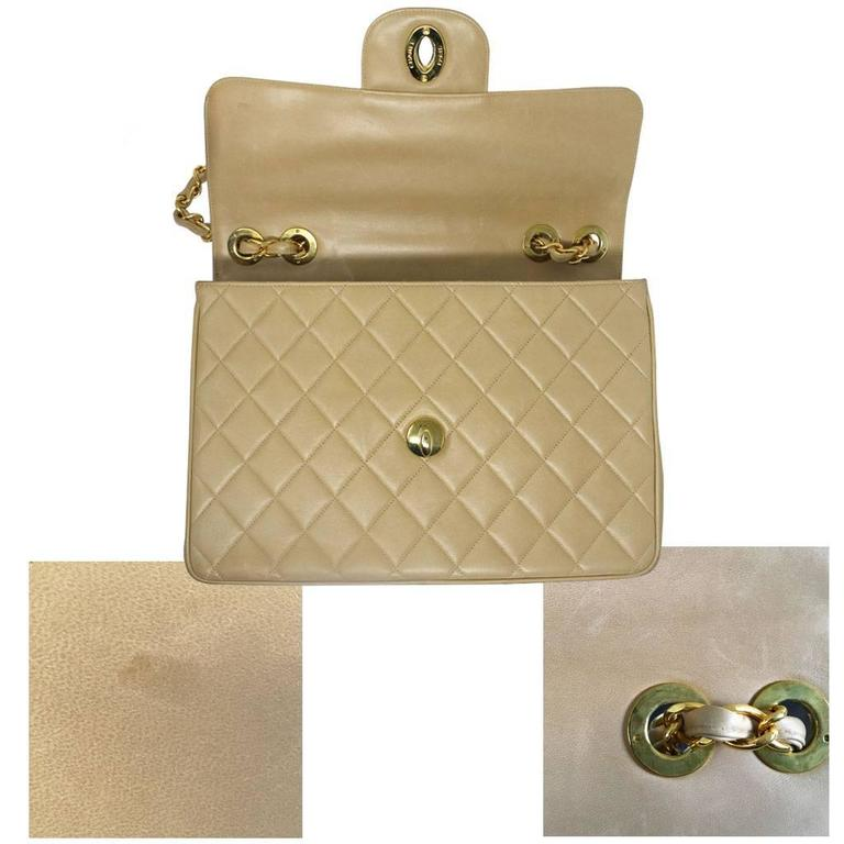 Chanel Beige/Tan Vintage Quilted Lambskin Maxi Single Flap Bag GHW No. 3 For Sale 2