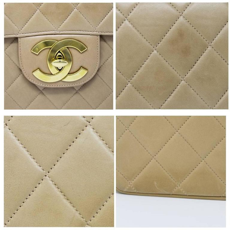 Chanel Beige/Tan Vintage Quilted Lambskin Maxi Single Flap Bag GHW No. 3 In Good Condition For Sale In Boca Raton, FL