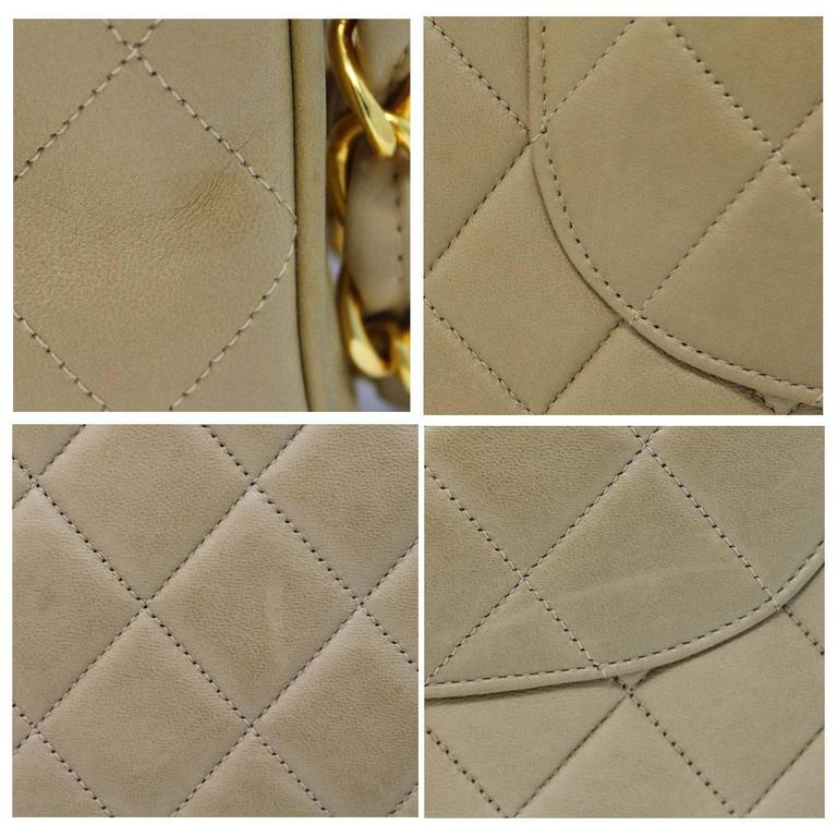 Women's Chanel Beige/Tan Vintage Quilted Lambskin Maxi Single Flap Bag GHW No. 3 For Sale