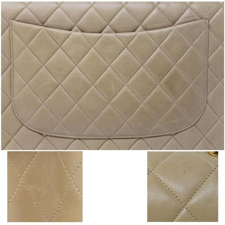 Brown Chanel Beige/Tan Vintage Quilted Lambskin Maxi Single Flap Bag GHW No. 3 For Sale