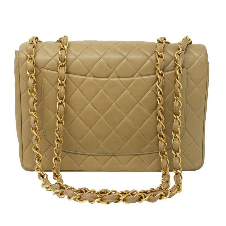 Chanel Beige/Tan Vintage Quilted Lambskin Maxi Single Flap Bag GHW No. 3 2