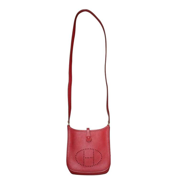 Authentic Hermes Evelyne Red Clemence TPM Handbag in Box 2003 For Sale 3