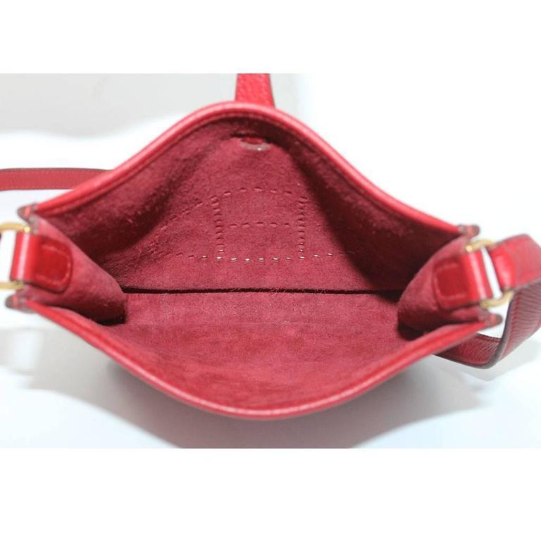 Authentic Hermes Evelyne Red Clemence TPM Handbag in Box 2003 6