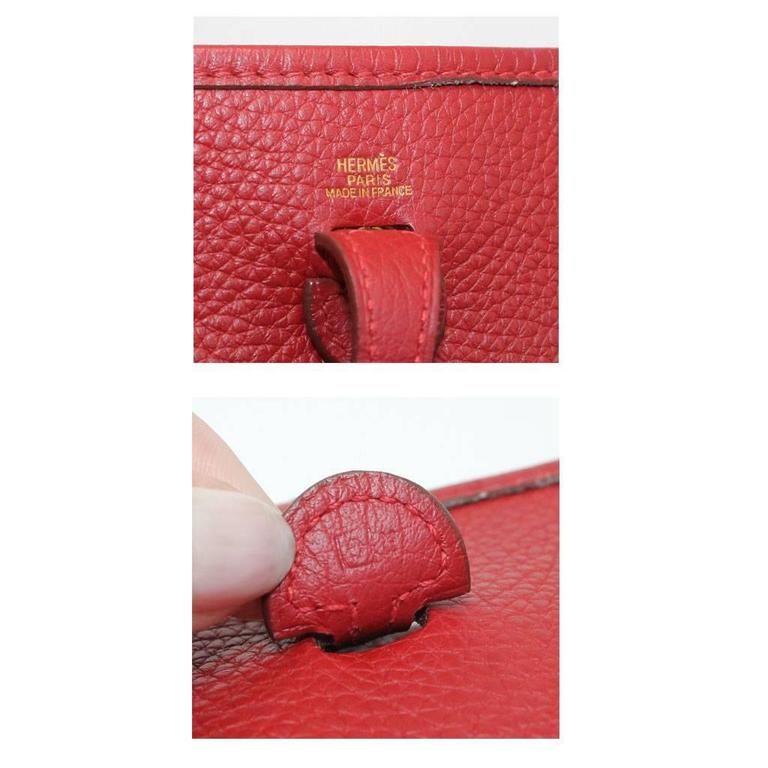Authentic Hermes Evelyne Red Clemence TPM Handbag in Box 2003 For Sale 2