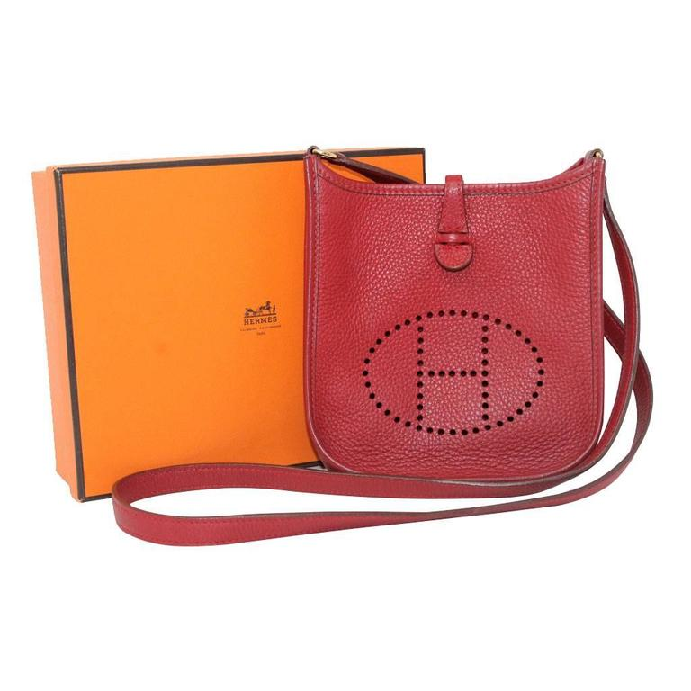 Authentic Hermes Evelyne Red Clemence TPM Handbag in Box 2003 For Sale 4