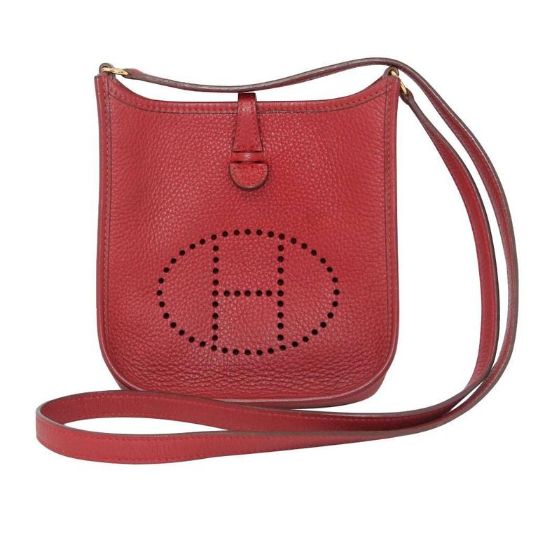 Authentic Hermes Evelyne Red Clemence TPM Handbag in Box 2003 For Sale
