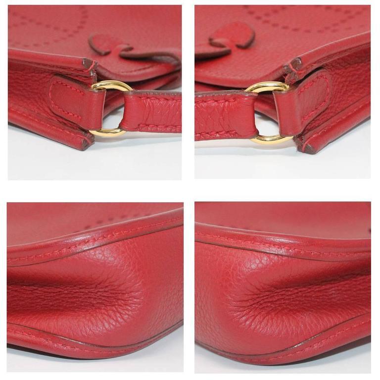 Authentic Hermes Evelyne Red Clemence TPM Handbag in Box 2003 4