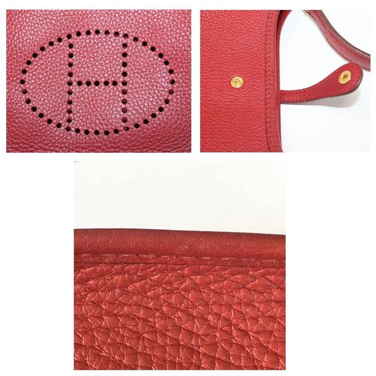 Authentic Hermes Evelyne Red Clemence TPM Handbag in Box 2003 5