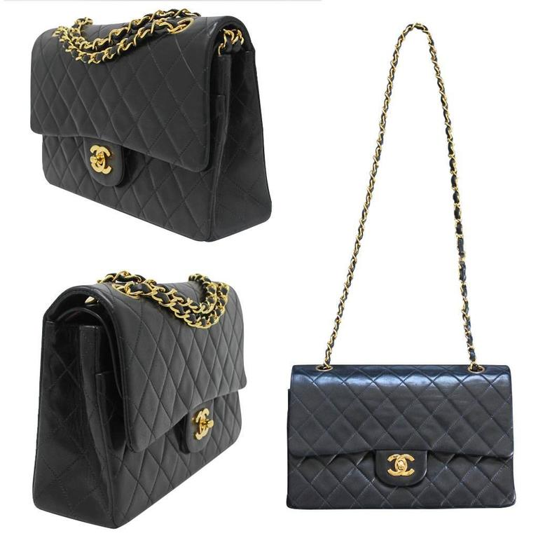 Chanel Double Flap Black Quilted Lambskin Vintage Bag In