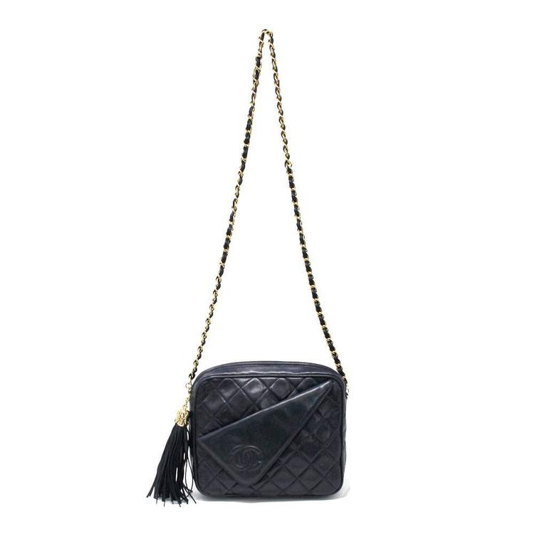 Chanel Navy Matelasse Tassel Lambskin GHW Shoulder Bag w/ Dust Bag For Sale 4