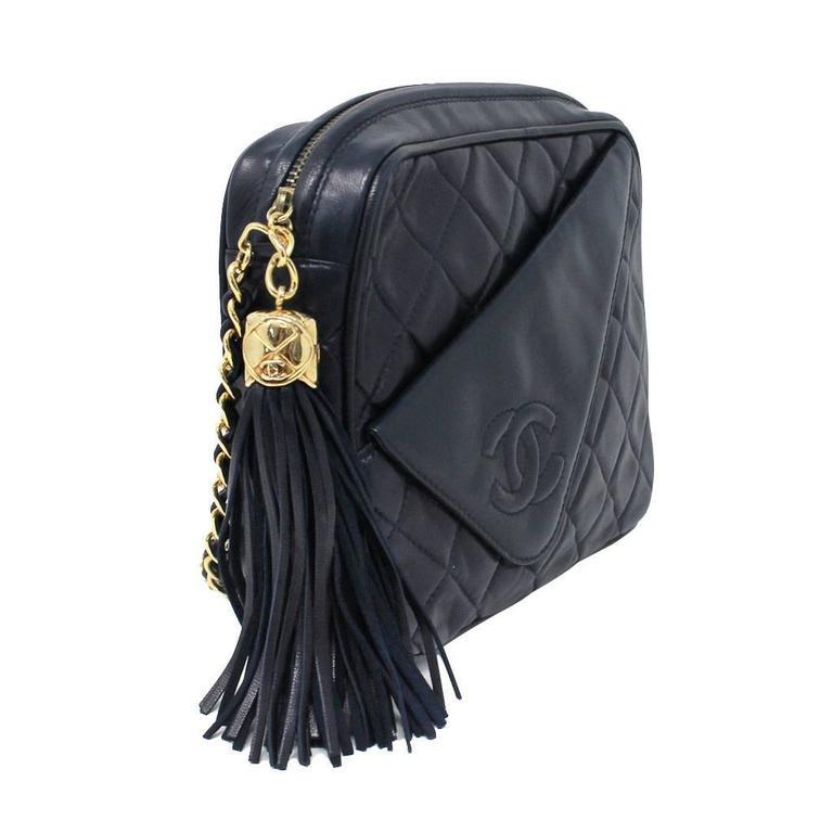 Black Chanel Navy Matelasse Tassel Lambskin GHW Shoulder Bag w/ Dust Bag For Sale