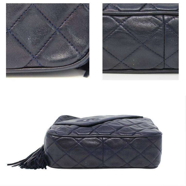 Chanel Navy Matelasse Tassel Lambskin GHW Shoulder Bag w/ Dust Bag In Good Condition For Sale In Boca Raton, FL