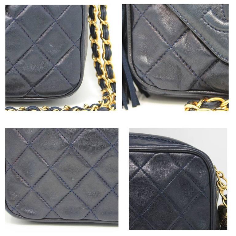 Chanel Navy Matelasse Tassel Lambskin GHW Shoulder Bag w/ Dust Bag For Sale 1