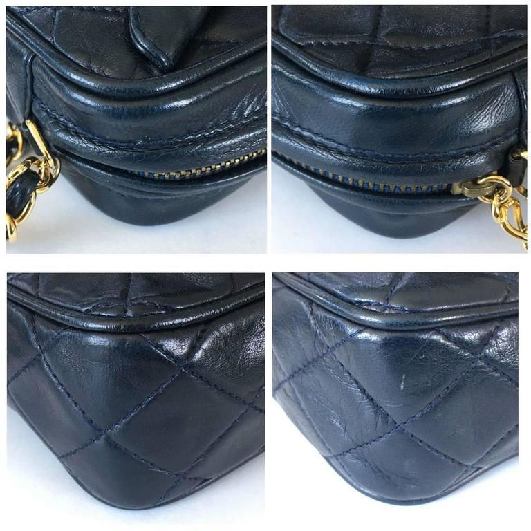 Women's Chanel Navy Matelasse Tassel Lambskin GHW Shoulder Bag w/ Dust Bag For Sale
